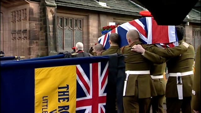 port sunlight: ext union jack draped coffin carried into church as bagpipes played at funeral of territorial army volunteer steven boote veterans... - union army stock videos & royalty-free footage