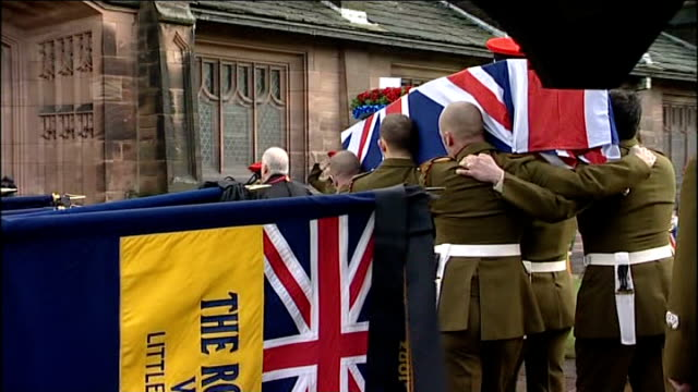 merseyside port sunlight ext union jack draped coffin carried into church as bagpipes played at funeral of territorial army volunteer corporal steven... - union army stock videos & royalty-free footage