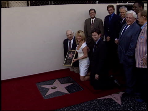 merv griffin at the dediction of suzanne somers' walk of fame star at the hollywood walk of fame in hollywood california on january 24 2003 - suzanne somers stock videos & royalty-free footage