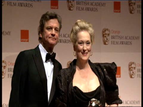 Meryl Streep and Colin Firth at the Orange British Academy Film Awards 2012 Press Room Meryl Streep and Colin Firth at the Orange British at The...