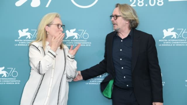 """meryl streep and gary oldman attend """"the laundromat"""" photocall during the 76th venice film festival at sala grande on september 01, 2019 in venice,... - gary oldman stock videos & royalty-free footage"""