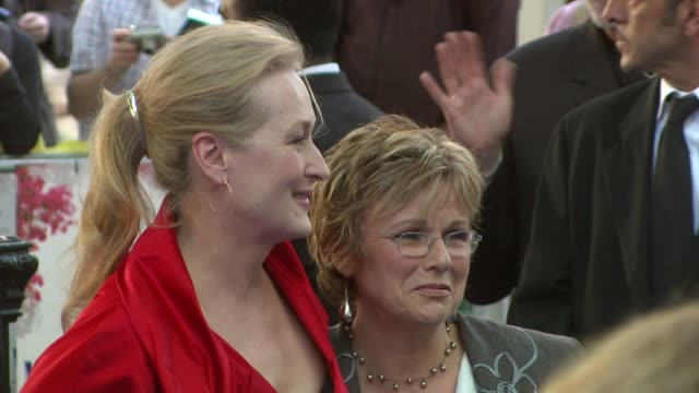 meryl streep and julie walters at the mamma mia premiere at london - mamma mia stock videos and b-roll footage