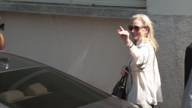 meryl streep at celebrity sightings in venice on september 1, 2019 in venice, italy. - べネチア国際映画祭点の映像素材/bロール
