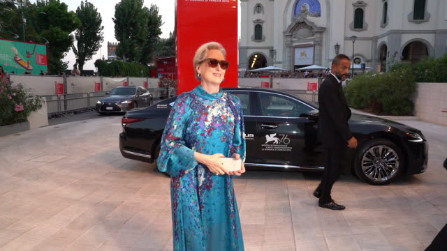 meryl streep at 'the laundromat' at red carpet arrivals - 76th venice film festival at on september 1, 2019 in venice, italy. . getty images for lexus - メリル・ストリープ点の映像素材/bロール