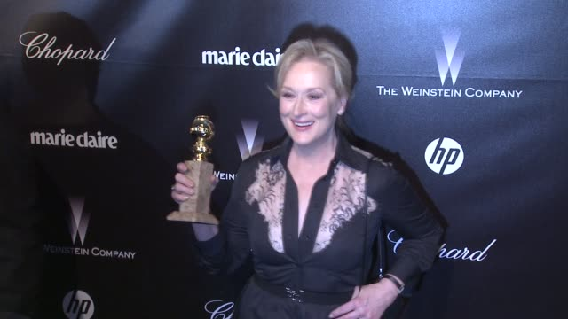 vídeos de stock, filmes e b-roll de meryl streep at the weinstein company golden globe afterparty at the beverly hilton hotel on 1/15/12 in los angeles ca - meryl streep