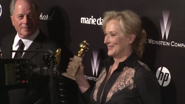 vídeos de stock, filmes e b-roll de meryl streep at the weinstein company golden globe afterparty at the beverly hilton hotel on 1/15/12 in los angeles ca - golden globes