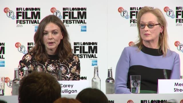 meryl streep, carey mulligan on sexual equality on october 07, 2015 in london, england. - メリル・ストリープ点の映像素材/bロール