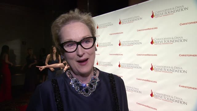 interview meryl streep discusses what it means for her to be here tonight how it feels to be continuing the legacy of her friends christopher reeve... - christopher and dana reeve foundation stock videos and b-roll footage