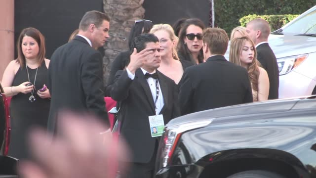 Meryl Streep exchanges greetings with fans at the SAG Awards at The Shrine Auditorium in Los Angeles Celebrity Sightings in Los Angeles CA on