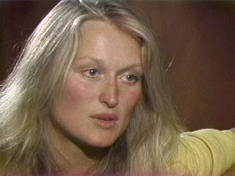 meryl streep explains why, as an actress, evil people are interesting to portray, during a 1979 interview with gene shalit. - メリル・ストリープ点の映像素材/bロール