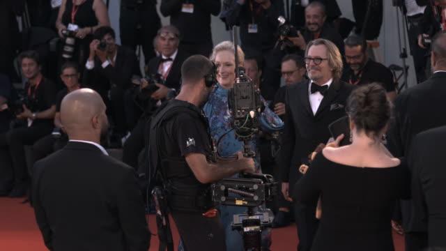 meryl streep, gary oldman at 'the laundromat'red carpet arrivals - 76th venice film festival on september 01, 2019 in venice, italy. - gary oldman stock videos & royalty-free footage