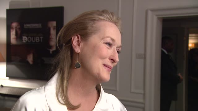 meryl streep on being nominated for awards, on the film, on working with the writer/director, john patrick stanley at the uk doubt gala screening at... - 2009 stock videos & royalty-free footage