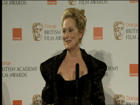 Meryl Streep on her previous movies on Iron Lady and on what she learned on set at the Orange British Academy Film Awards 2012 Press Room INTERVIEW...