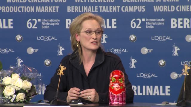 Meryl Streep on Olivia Colman Anna Paquin at Iron Lady Press Conference 62nd International Berlin Film Festival 2012 at the Grand Hyatt on February...