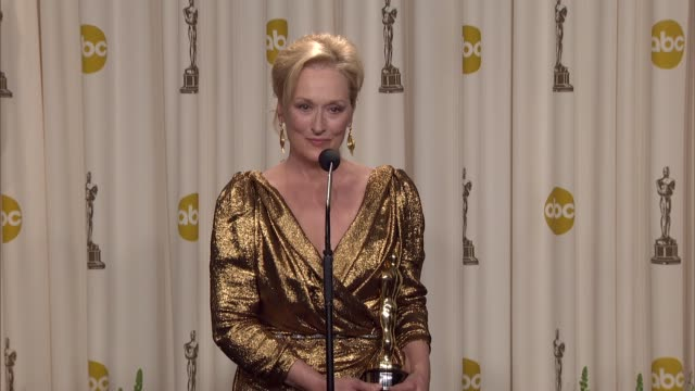 meryl streep on what this award means to her at 84th annual academy awards press room on 2/26/12 in hollywood ca - academy awards stock videos & royalty-free footage