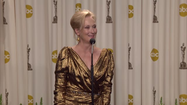 meryl streep on winning. at 84th annual academy awards - press room on 2/26/12 in hollywood, ca. - academy of motion picture arts and sciences stock videos & royalty-free footage