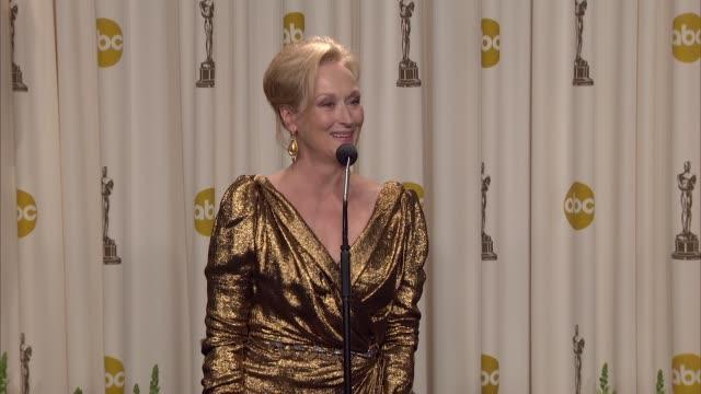 meryl streep on winning. at 84th annual academy awards - press room on 2/26/12 in hollywood, ca. - メリル・ストリープ点の映像素材/bロール