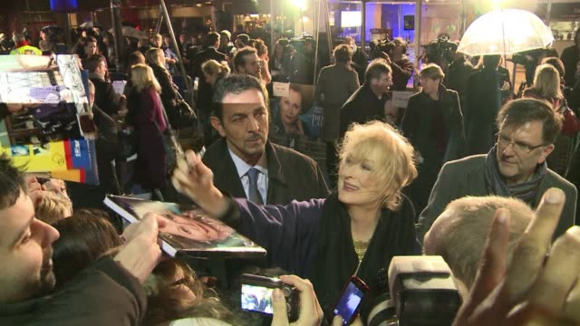 meryl streep took to a speciallylaid blue carpet on wednesday for the european premiere of the iron lady the biopic of former british prime minister... - prime minister of the united kingdom stock videos and b-roll footage