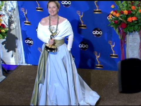 meryl streep winner of outstanding lead actress in a miniseries or a movie 'angels in america' at the 2004 primetime emmy awards press room at the... - emmy awards stock videos & royalty-free footage