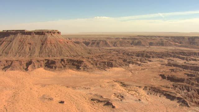 WS AERIAL Mesa and badlands in Painted Desert in Coconino County / Arizona, United States