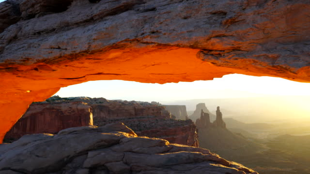 mesa arch at sunset, canyonlands national park, utah, usa, north america, america - canyonlands national park stock videos & royalty-free footage