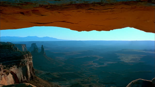 Mesa Arch overlooks Canyonlands National Park in Utah.