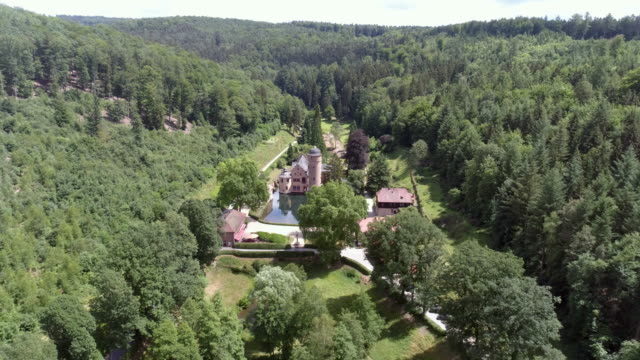 mespelbrunn water castle in spessart mountain range - moat stock videos and b-roll footage