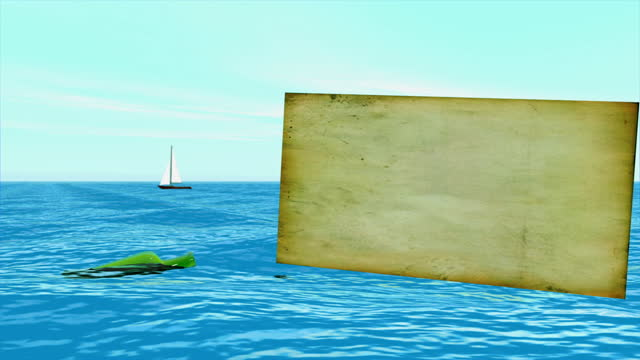 a message in a bottle drifting in the shallow seas - treasure hunt stock videos & royalty-free footage