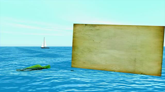 浅い海に漂う瓶の中のメッセージ - 宝探し点の映像素材/bロール
