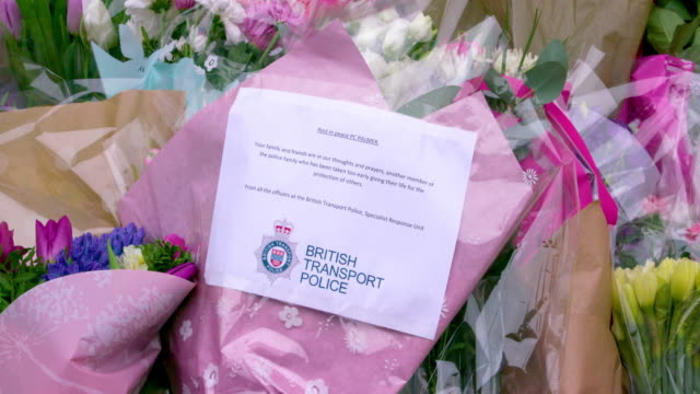 messages flowers left in memory of pc keith palmer palace of westminster london - neckwear stock videos and b-roll footage