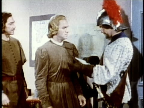 1948 REENACTMENT MS Messenger entering and handing Christopher Columbus a letter / AUDIO