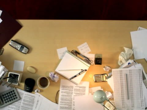A messy desk is cleaned up Sweden.