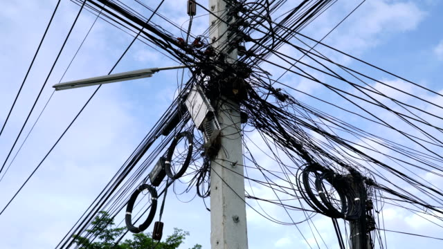 messy electric cable. - steel cable stock videos & royalty-free footage