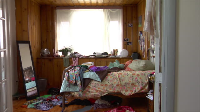 ms zi messy teenage bedroom - domestic room stock videos & royalty-free footage