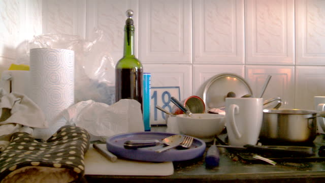 messy, untidy,dirty kitchen counter. slider shot - messy stock videos & royalty-free footage