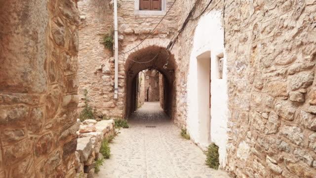 mesta, chios island, greece - village stock videos & royalty-free footage