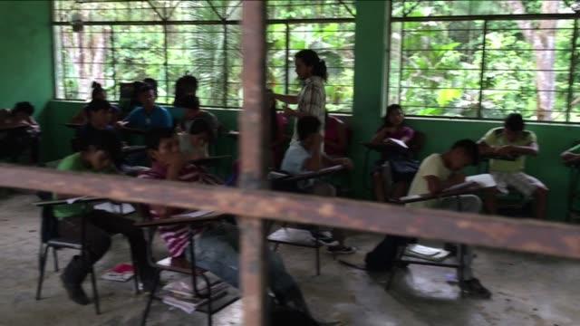 vídeos de stock e filmes b-roll de mestizo, or mixed-blood teacher conducts final exam to grade-school kichwa indians studying english in autonomous indigenous region of sarayaku in ecuadorian amazon. - américa latina