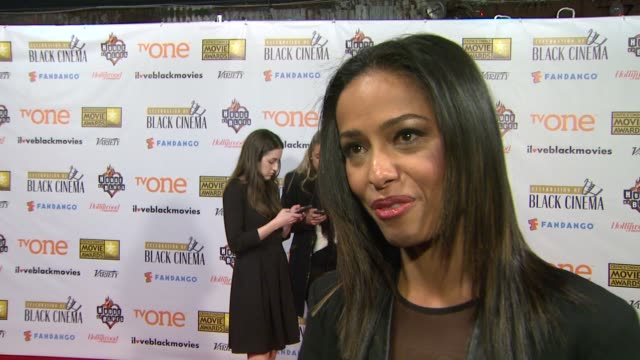 meta golding on 12 years a slave at bfca celebration of black cinema west hollywood, ca january 7, 2014 - ブロードキャスト映画批評家協会点の映像素材/bロール