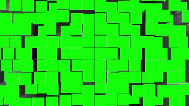 stockvideo's en b-roll-footage met metal cube assemble green screen transitions - blok vorm