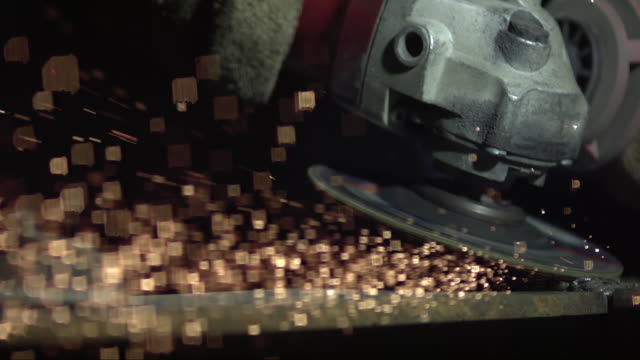 SLO MO Metal cutting blade creating sparks