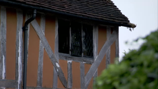 metal latticework fills the windows on a half-timbered home in lavenham, england. available in hd. - lavenham stock-videos und b-roll-filmmaterial