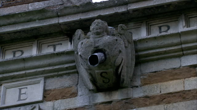 vídeos y material grabado en eventos de stock de metal pipes protrude from the chest of stone gargoyles on rushton triangular lodge in northamptonshire, england. available in hd. - northamptonshire