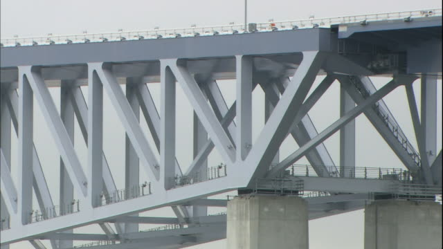 metal trusses support the truss-cantilever tokyo gate bridge. - cantilever bridge stock videos & royalty-free footage