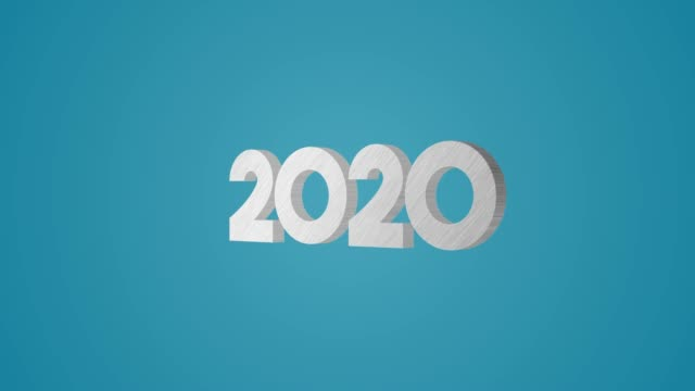 4k 3d metallic 2020 text animation on blue background - 2020 business stock videos and b-roll footage