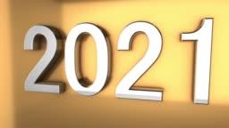4K 3D Metallic 2021 text Animation on gold background