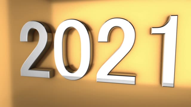 4k 3d metallic 2021 text animation on gold background - personal organizer stock videos & royalty-free footage