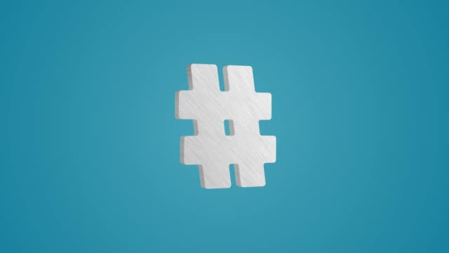vídeos de stock e filmes b-roll de 4k 3d metallic hashtag icon animation on blue background - promoções