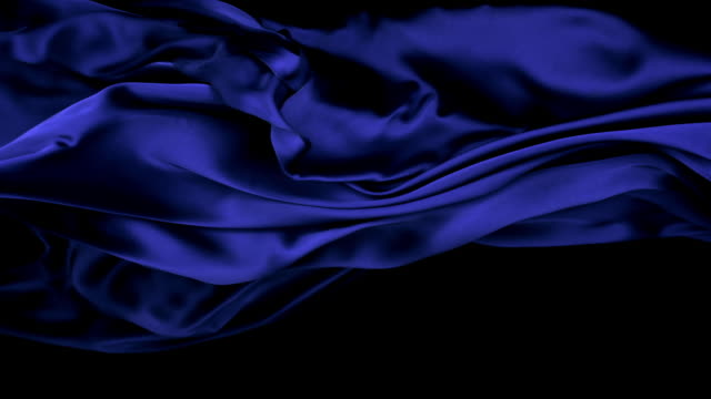 metallic midnight blue silky fabric flowing and waving horizontally in super slow motion and close up, black background - blue stock videos & royalty-free footage