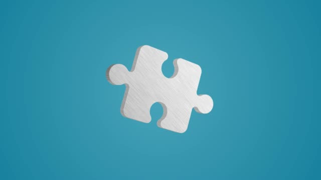 4k 3d metallic puzzle icon animation on blue background - jigsaw puzzle stock videos & royalty-free footage