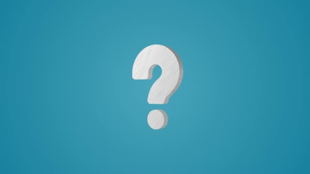 4k 3d metallic question mark animation on blue background - question mark stock videos & royalty-free footage
